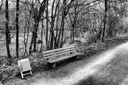 A bench in a park.